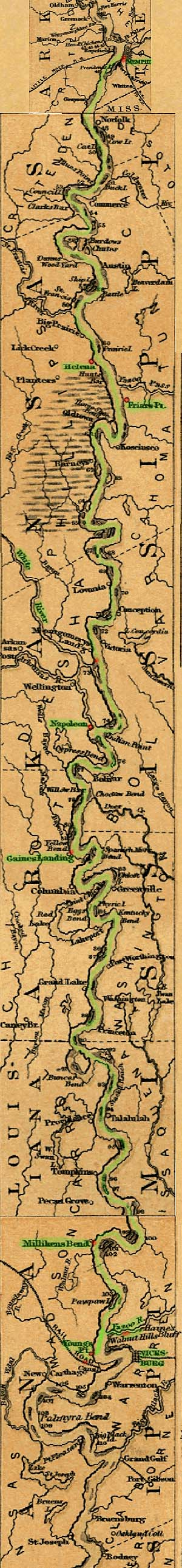 map of ohio river and mississippi river. the Ohio River to Gulf of